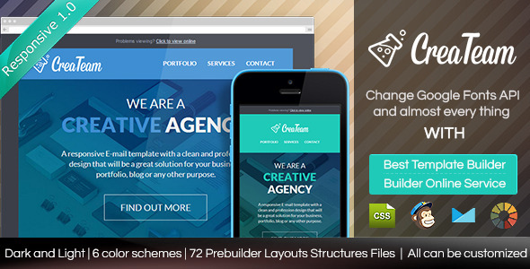 CreaTeam - Responsive Email Template With Builder - Email Templates Marketing