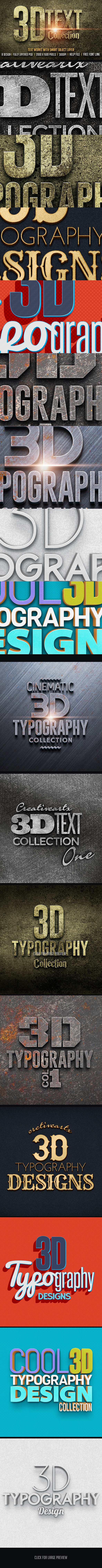 3D Text Col 1 - Text Effects Styles