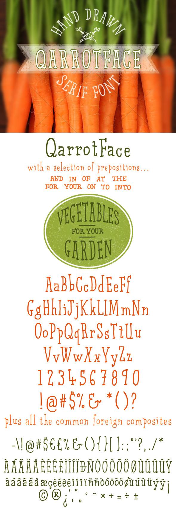 Qarrotface Handwritten Serif Font