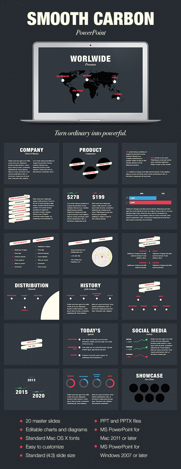 Smooth Carbon PowerPoint Template