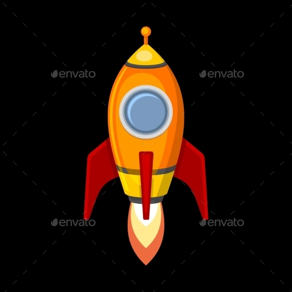 GraphicRiver Comic Rocket Ship in Cartoon Style 8813429