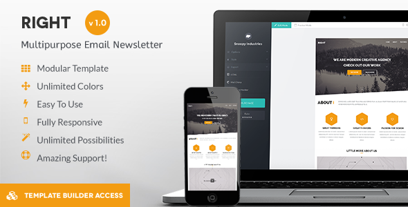 ThemeForest Right Responsive Mail & Builder Editor Access 8813452