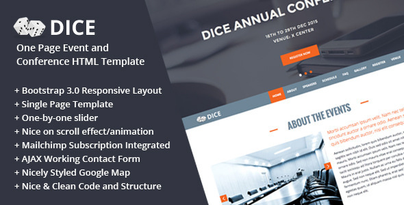 ThemeForest Dice One Page Event and Conference HTML Template 8781821