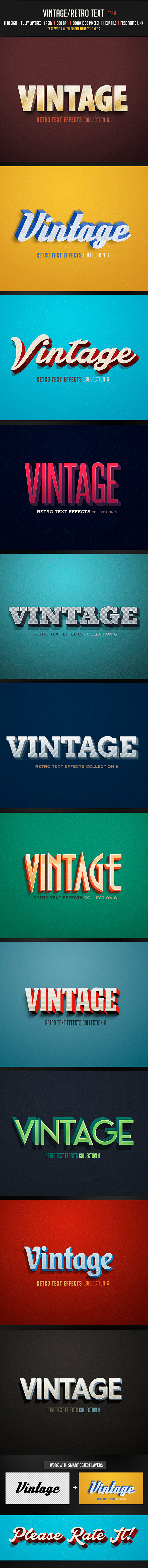 Vintage/Retro Text Col 6 - Text Effects Actions