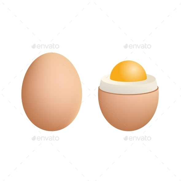 GraphicRiver Broken Boiled Egg Isolated on White Background 8813483