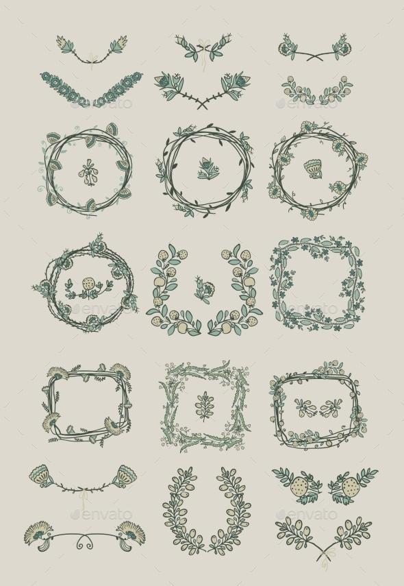 GraphicRiver Big Set of Floral Graphic Design Elements 8815133