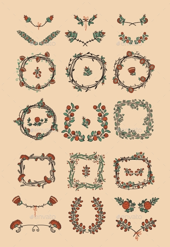 GraphicRiver Big Set of Floral Graphic Design Elements 8815136