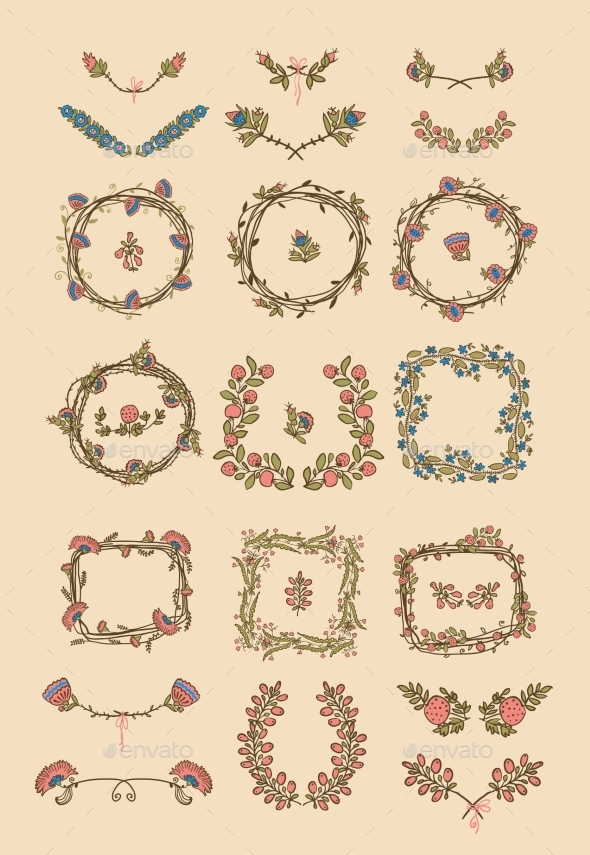 GraphicRiver Big Set of Floral Graphic Design Elements 8815144
