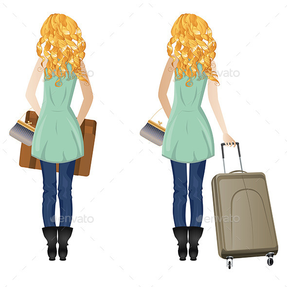 GraphicRiver Blonde Woman with Suitcase 8815350