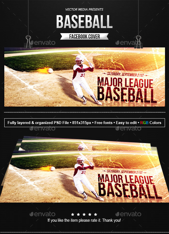 GraphicRiver Baseball Facebook Cover 8804391