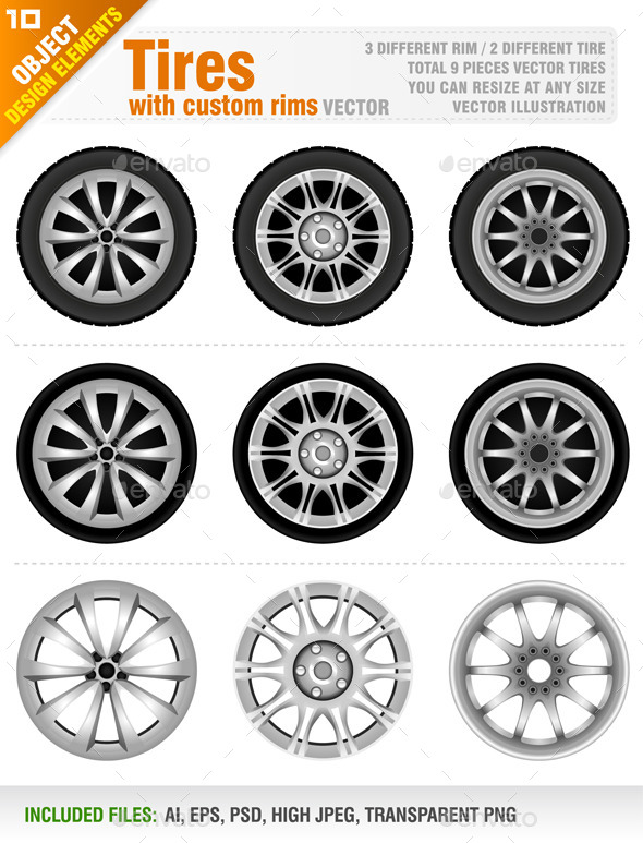 GraphicRiver Tires with Custom Rims 2 8816783