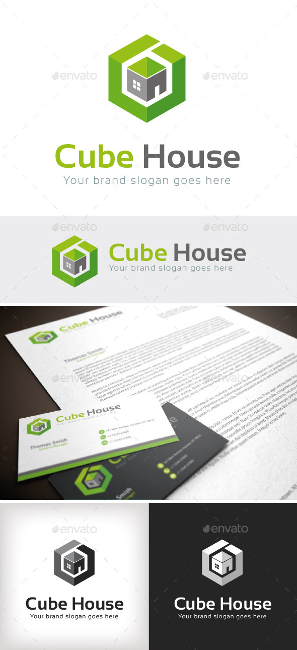 GraphicRiver Cube House Logo Template 8816789