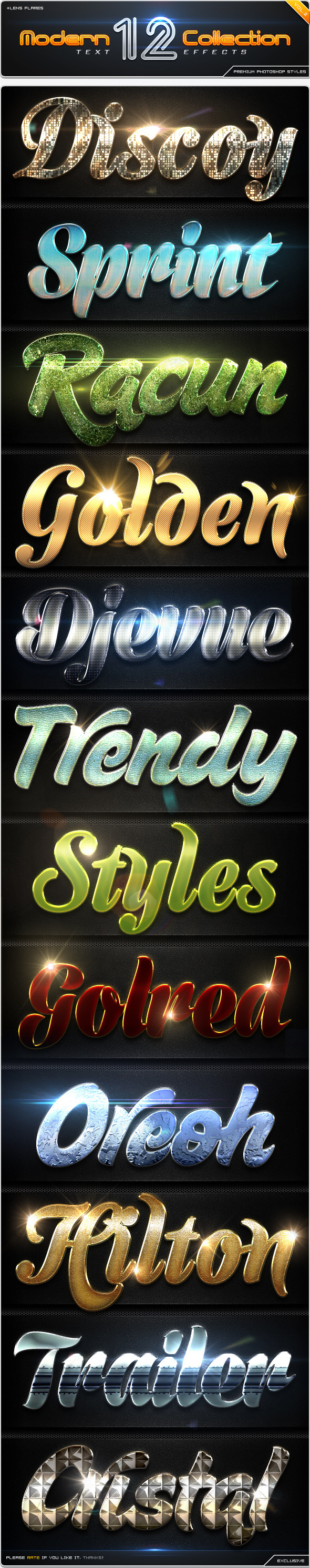 GraphicRiver 12 Modern Collection Text Effect Styles Vol.2 8816858