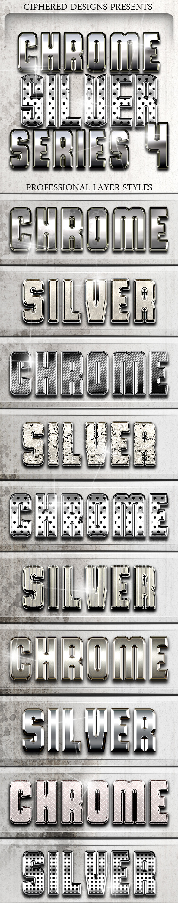 Chrome & Silver Series 4 - Pro Text Effects - Text Effects Styles