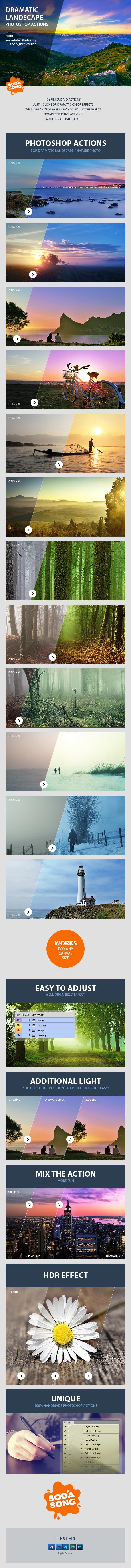 PS动作,诱人的戏剧性风景 Dramatic Landscape Photoshop Actions - Photo Effects...ps动作下载,预览图2