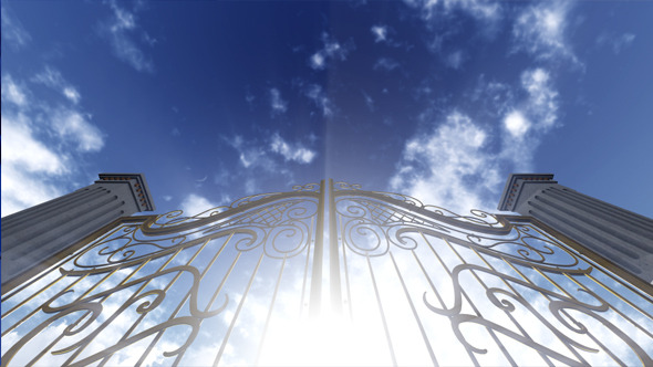 Gates To Heaven Opening Under Ethereal Light