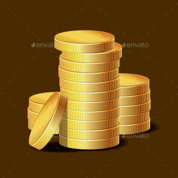 GraphicRiver Stacks of Golden Coins on Dark Background 8817356