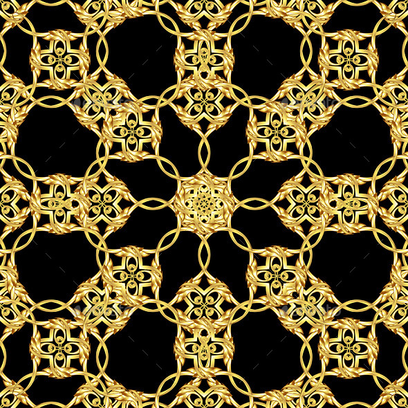 GraphicRiver Asian Golden Pattern on Black 8817403