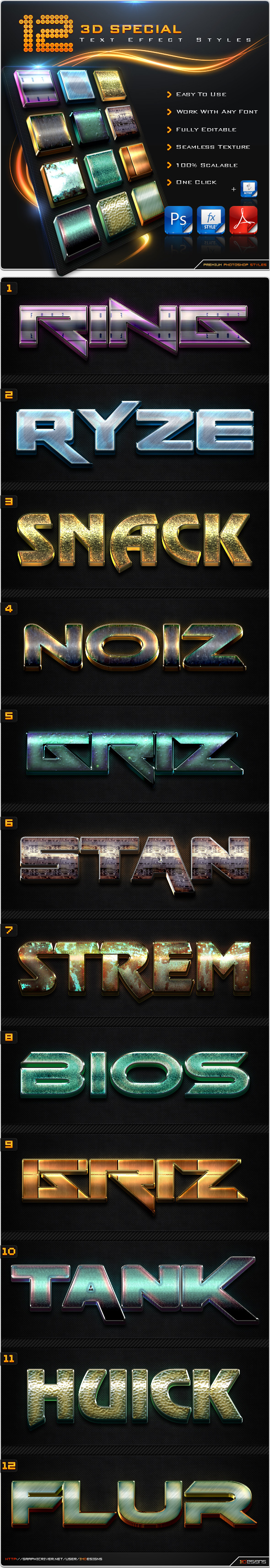 12 Special 3D Text Effect Styles