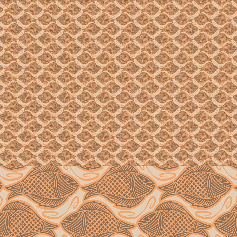 Fish Elegant Woodcut Printing Block Patterns By Joiaco