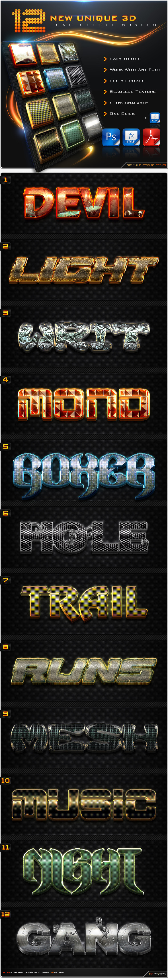12 New Unique 3D Text Effect Styles + Actions