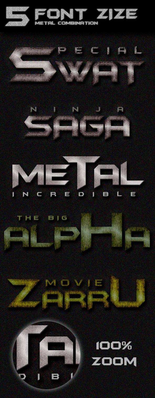 5 Font Size Metal Combination