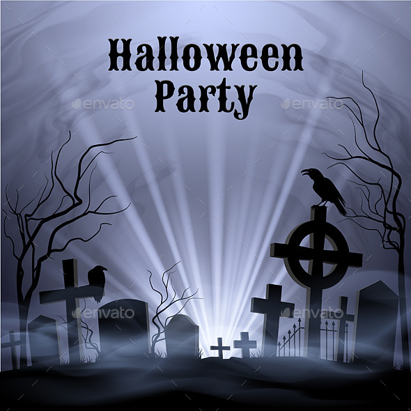 GraphicRiver Halloween Party with Eery White Light on a Spooky Graveyard 8817978