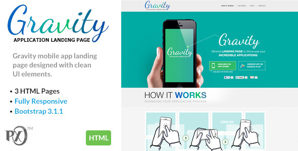 ThemeForest Gravity Mobile App Landing Page Responsive HTML 8788568