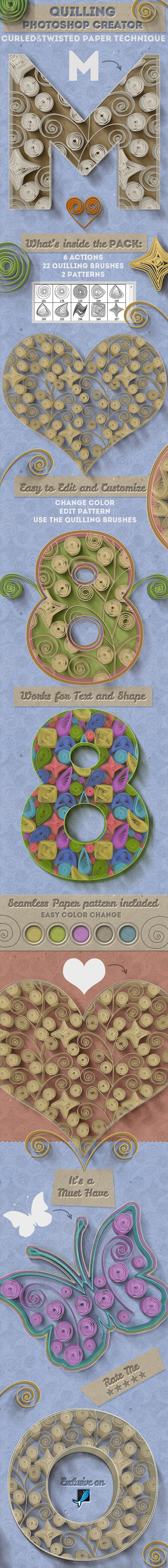 Quilling Paper Art Photoshop Creator - Utilities Actions