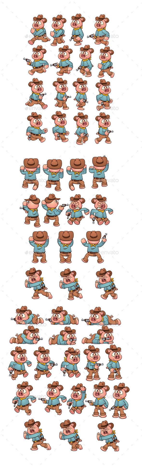 GraphicRiver Cowboy Pig Sprites 8818063