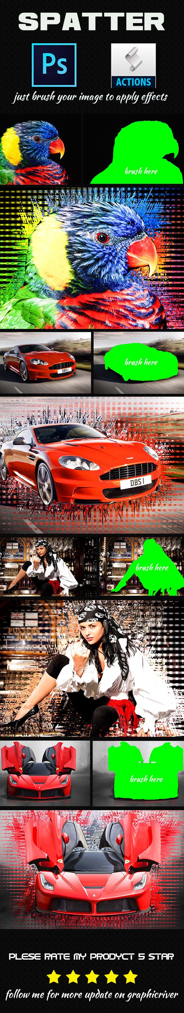 GraphicRiver Spatter Photoshop Action 8818094