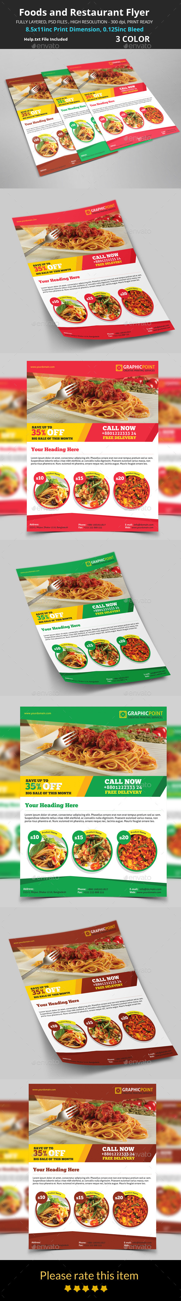 GraphicRiver Foods and Restaurant Flyer 8818725
