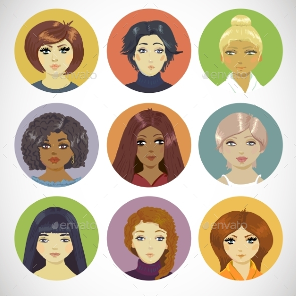 GraphicRiver Set of Circle Female Icons 8818784