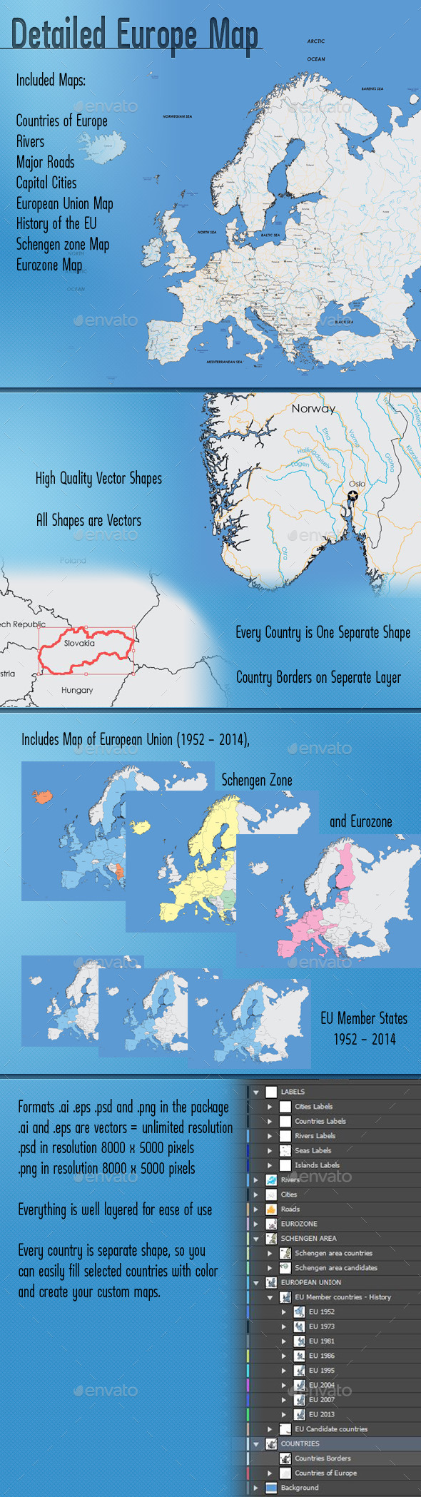 GraphicRiver Detailed Map of Europe 8818800