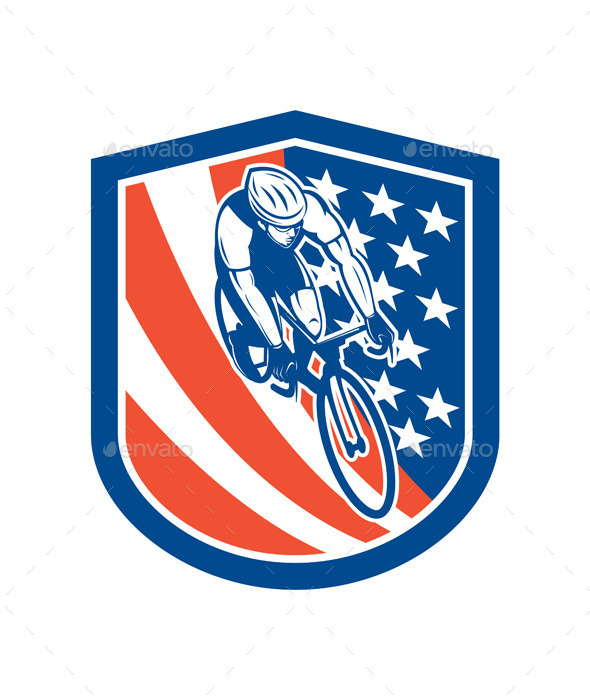 Bicycle Rider USA Flag