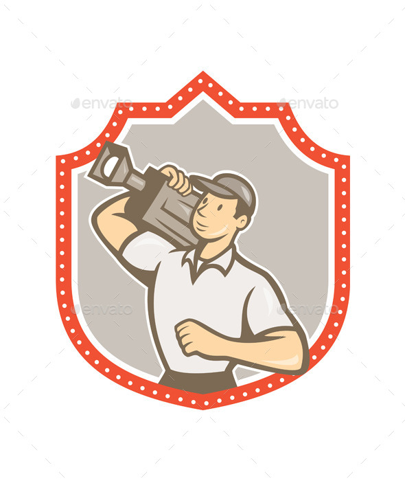 GraphicRiver Cameraman Vintage Film Shield 8819413