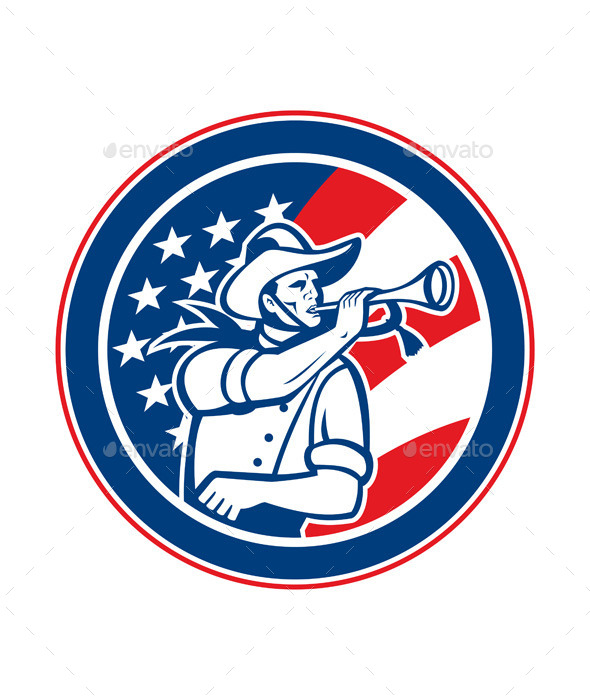 GraphicRiver American Cavalry Soldier Blowing Bugle Circle 8819416