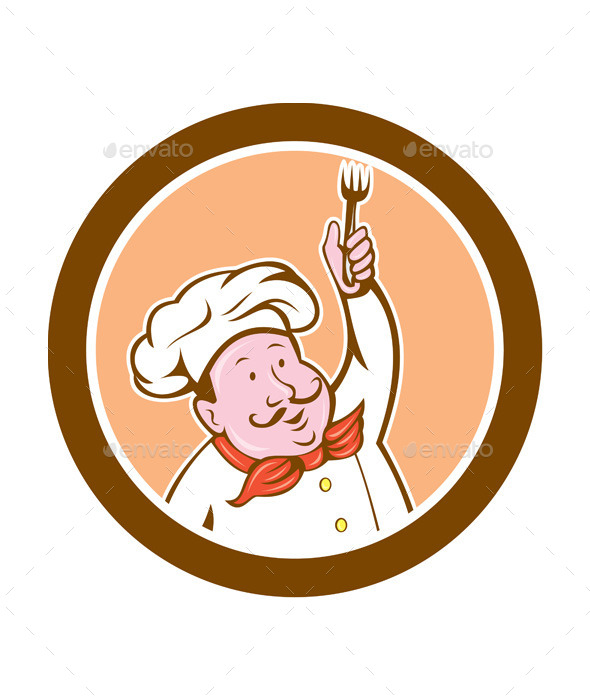 GraphicRiver Chef Holding Fork Cartoon 8819450