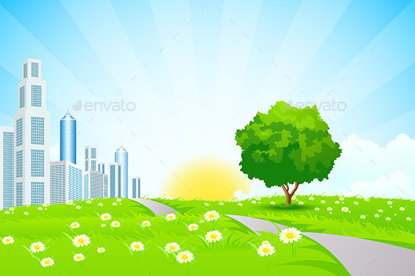GraphicRiver Green Landscape with City 8819455