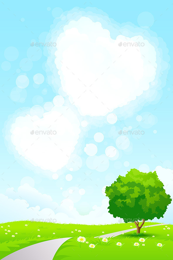 GraphicRiver Green Landscape with Tree and Heart Shape Clouds 8819462