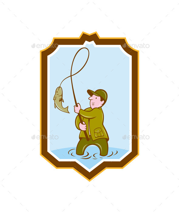GraphicRiver Fly Fisherman Shield Cartoon 8819469