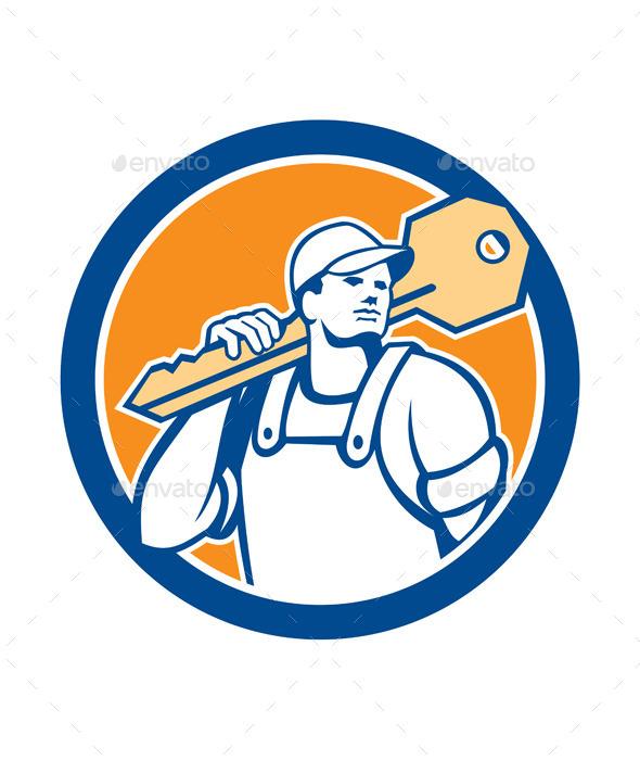 GraphicRiver Locksmith Carrying Key Circle 8819474