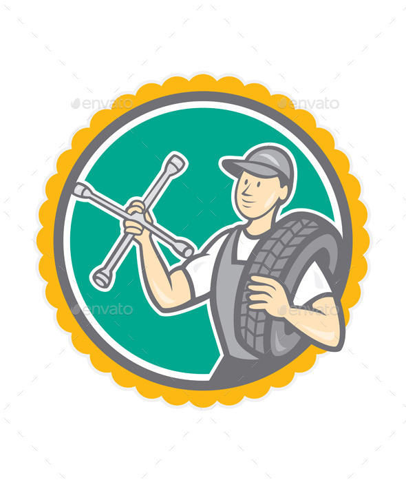 GraphicRiver Mechanic with Tire Wrench Rosette Cartoon 8819486