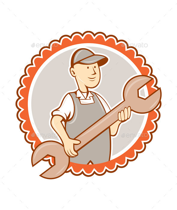 GraphicRiver Mechanic Spanner Wrench Rosette Cartoon 8819491