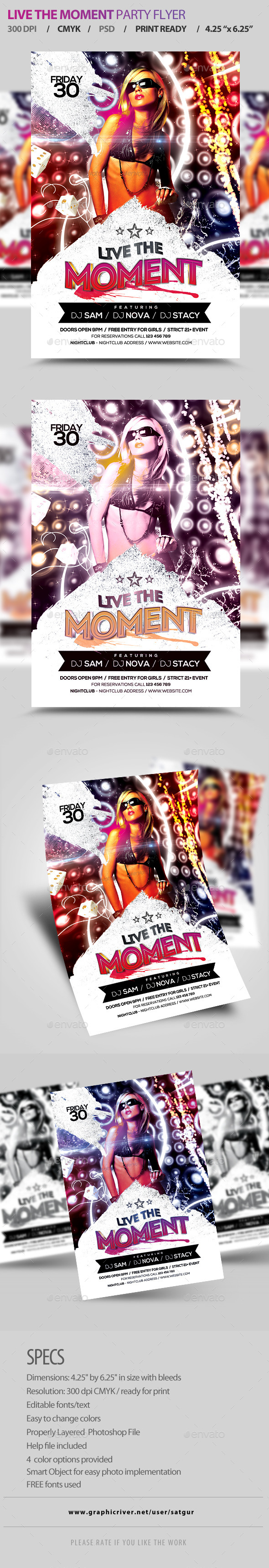 GraphicRiver Live the Moment Party Flyer PSD Template 8815726