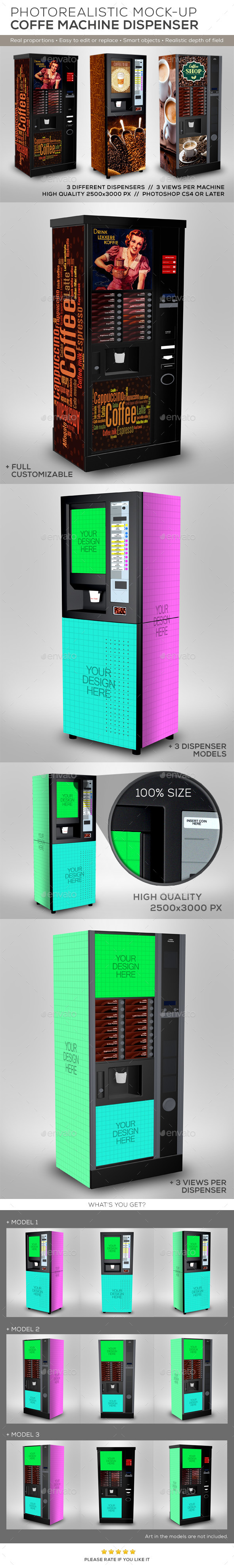 GraphicRiver Coffee Cup Dispenser Machine Mock-Up 8819603
