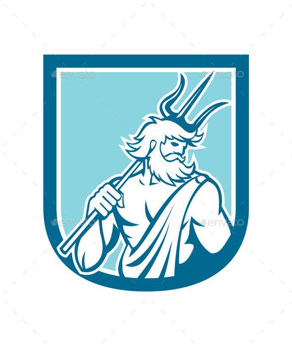 GraphicRiver Neptune Poseidon Trident Shield Retro 8819655
