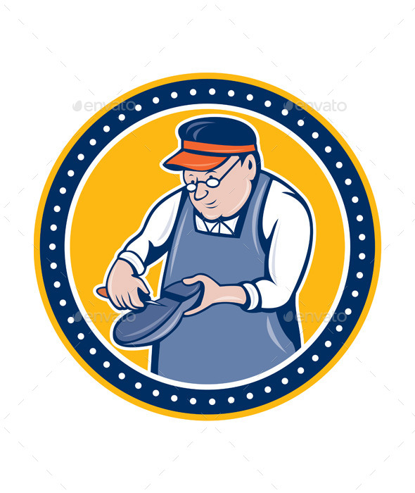 GraphicRiver Shoemaker Cobbler Circle Cartoon 8819680