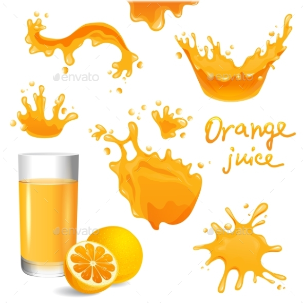 GraphicRiver Orange Juice Splashes 8819693