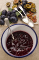 fresh plum jam in an enamel bowl - PhotoDune Item for Sale